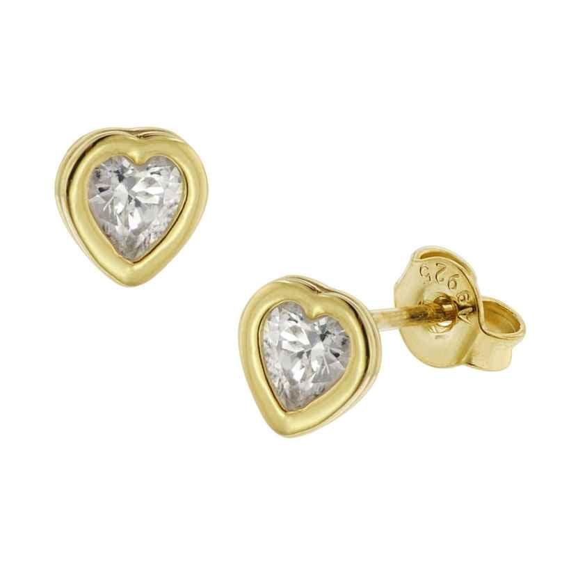 trendor 51370 Ohrringe Gold 333 / 8K Zirkonia Ohrstecker Herz 4260727513702