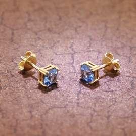 trendor 51680-02 Damen-Ohrringe Gold 333 / 8K synthetischer Aquamarin