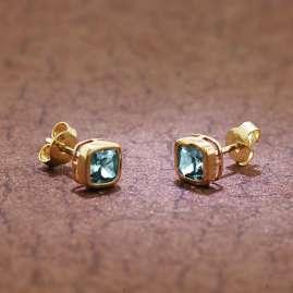 trendor 51684-02 Ohrringe Gold 333 / 8K Ohrstecker Synthetischer Aquamarin