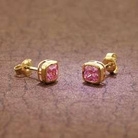 trendor 51684-04 Women's Earrings Gold 333 / 8K Cubic Zirconia Pink