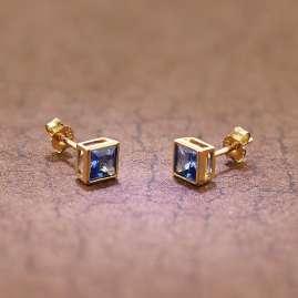trendor 51715-03 Damen-Ohrringe Gold 333 / 8K Zirkonia London Blau