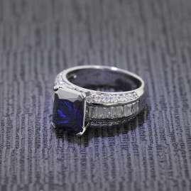 trendor 68268 Silber Damenring Royal dunkelblau