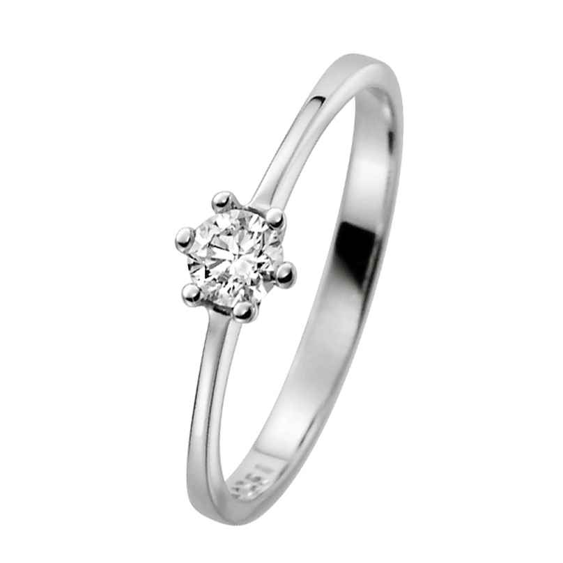 trendor 532459 Damenring 585 Weißgold mit Brillant Verlobung Heiratsantrag