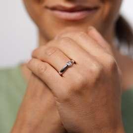 trendor 532497 Verlobungsring 585 Weißgold Damenring mit Diamant 0,15 ct