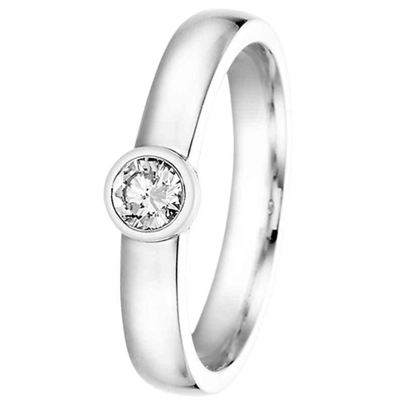 trendor 532498 Damenring 585 Weißgold mit Brillant für Antrag und Verlobung