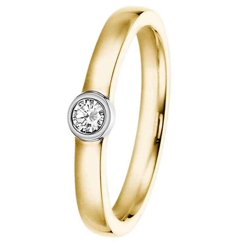 trendor 532499 Verlobungsring 585 Gold Bicolor mit Diamant 0,15 ct