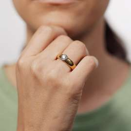 trendor 532501 Damenring aus 585 Gold mit 0,45 ct. Diamant