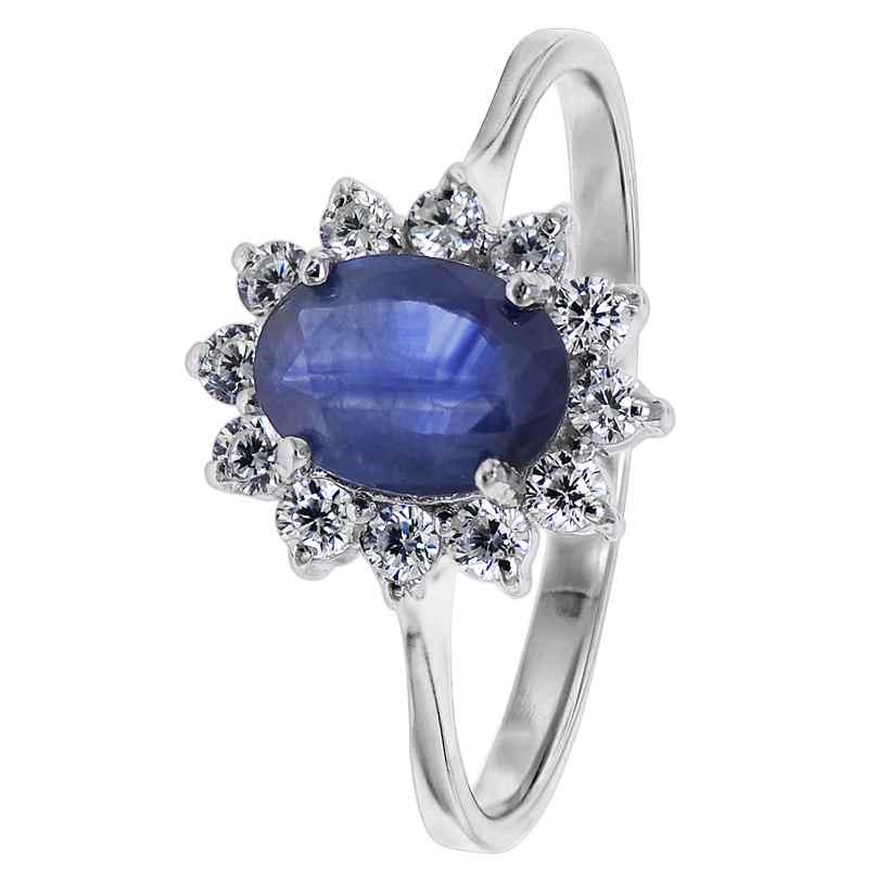 trendor 08786 Damen-Ring aus Silber mit synth. Saphir und Zirkonias