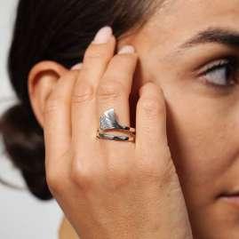 trendor 75018 Silver Ladies' Ring Gingko Leaf