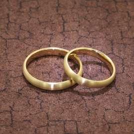 trendor 1002 Wedding Rings Pair 375 Gold Matt-Finished