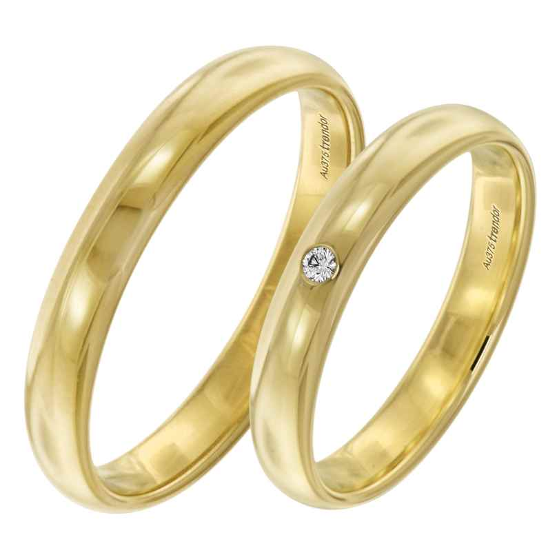 trendor 2001 Eheringe Paar Gold 375 Trauring-Set mit Diamant