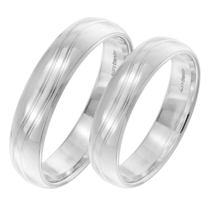 trendor 6003 Wedding Rings Pair 375 White Gold Polished