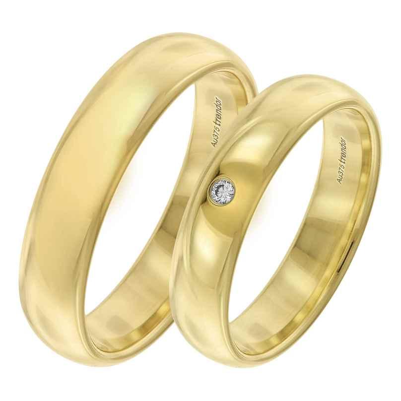 trendor 7001 Wedding Rings Pair Gold 375 Ring Set with Diamond