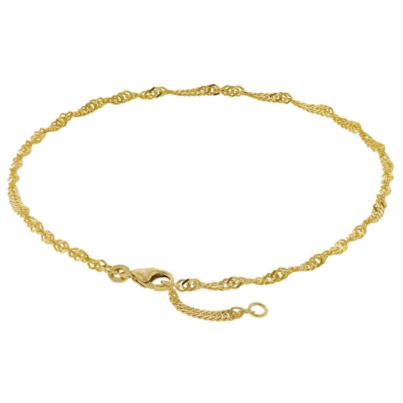 trendor 50507 Fußkettchen 333 Gold Singapur-Muster Breite 2,4 mm 4260435350507