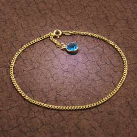trendor 51191 Anklet Gold Plated Silver 925 with Blue Quartz