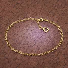 trendor 51197 Anklet Heart Gold Plated Silver 925 with Green Quartz