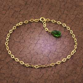 trendor 51196 Anklet Gold Plated Silver 925 with Green Crystal Drop