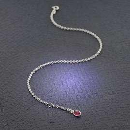 trendor 51338 Anklet 925 Sterling Silver With Red Quartz