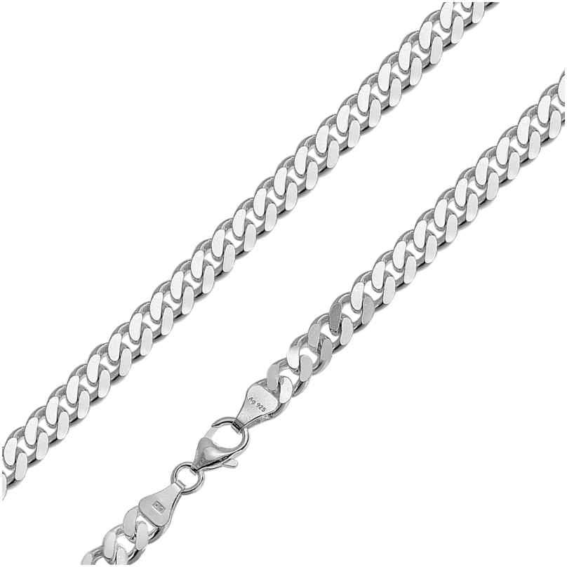 trendor 85888 Halskette für Männer 925 Silber Flachpanzer Breite 6,9 mm