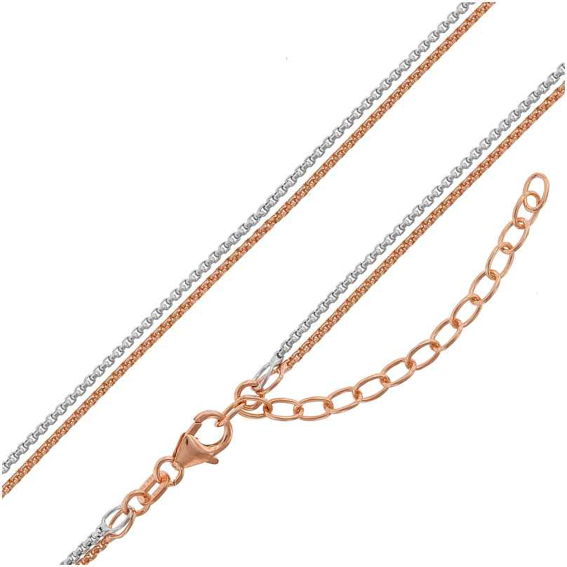 trendor 75151 Ladies' Necklace Box Chain 2-Row Silver 925 Two-Colour 4260641751518
