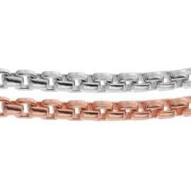 trendor 75294 Halskette Venezia 2-Reihig Silber 925 Bicolor