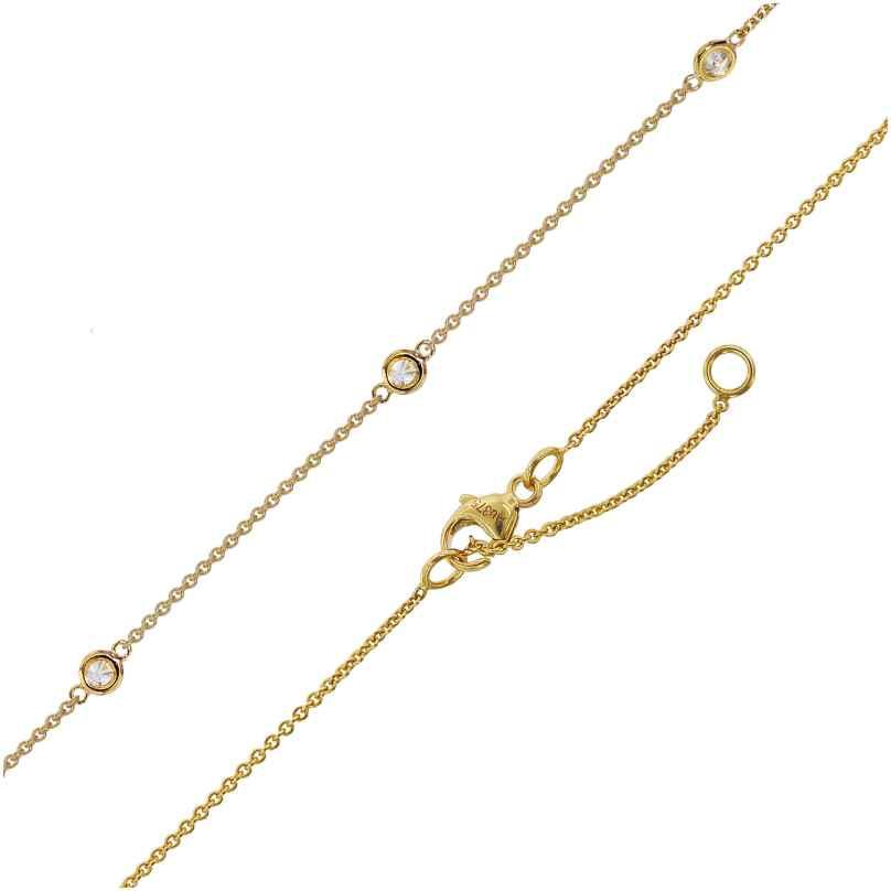 trendor 75299 Halskette für Damen Gold 375 (9 Karat) Ankerkette mit Zirkonias 4260641752997