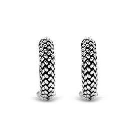 Ti Sento 7798SI Ladies' Hoop Earrings Blackened Silver