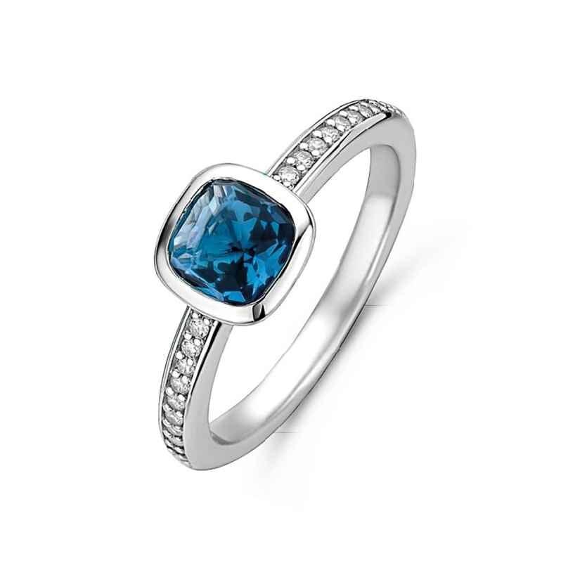 Ti Sento 12176DB Ladies' Ring Silver with Blue Stone