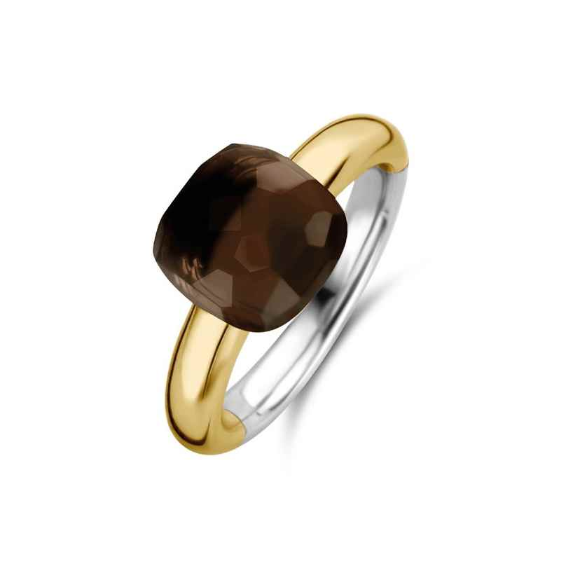 Ti Sento 12187TB Ladies' Ring Gold-Plated Silver with Brown Stone