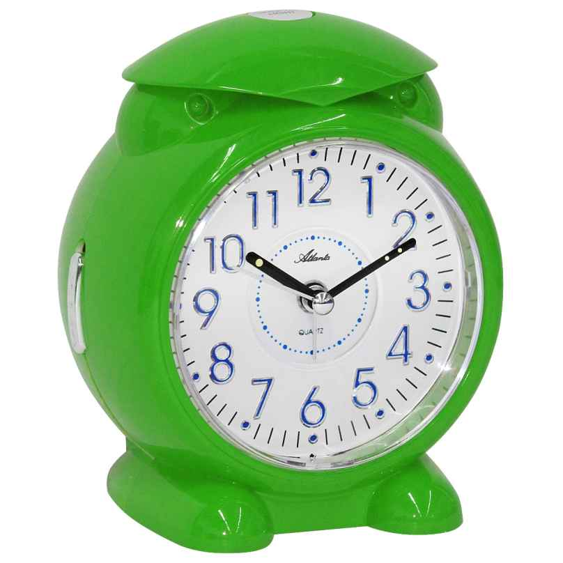 Atlanta 1985/6 Alarm Clock with Melody or Bell Sound Green 4026934198565