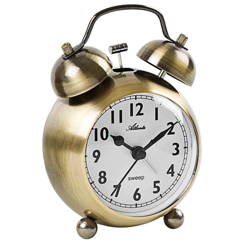Atlanta 2101/9 Retro Wecker mit Glockensignal Metallgehäuse messingfarben 4026934210199