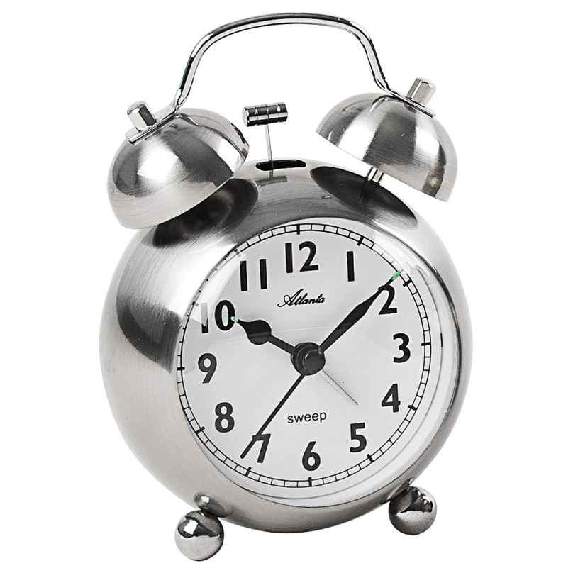 Atlanta 2101/19 Retro Wecker mit Glockensignal Metallgehäuse silber 4026934210113