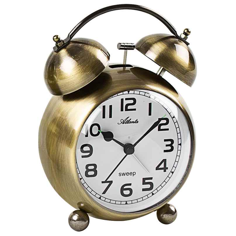 Atlanta 2102/9 Retro Alarm Clock with Bell Signal Brass Tone Metal Case 4026934210298