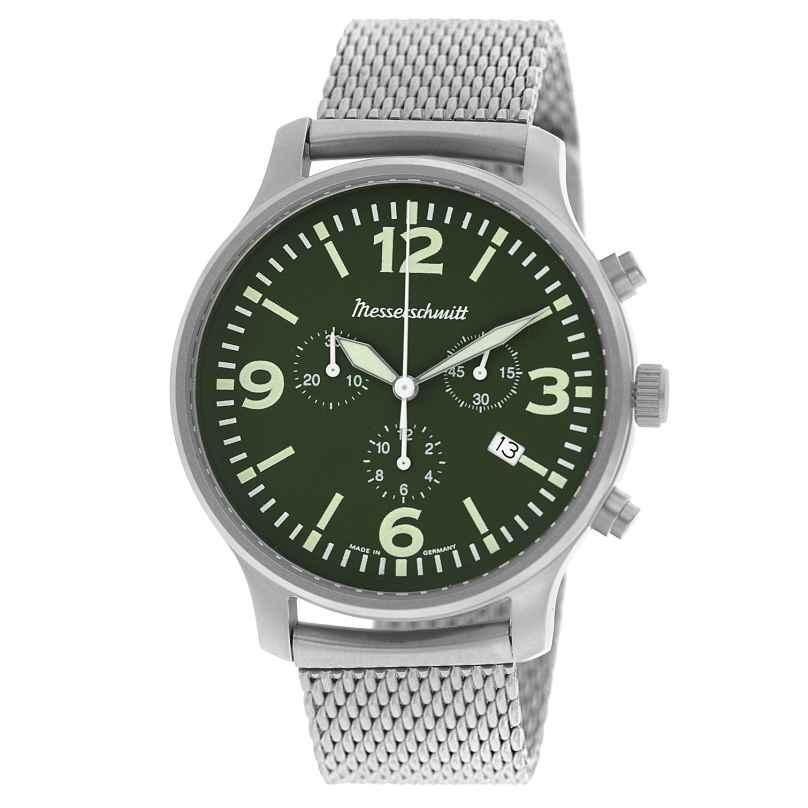 Messerschmitt ME-3H204M Herren-Fliegeruhr Chronograph mit Milanaise-Armband 4260186269479