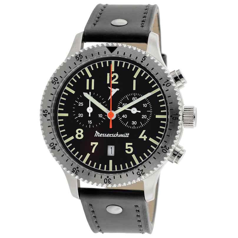 Messerschmitt ME-5021L Herrenuhr Flieger-Chronograph mit Lederband 4260186269387