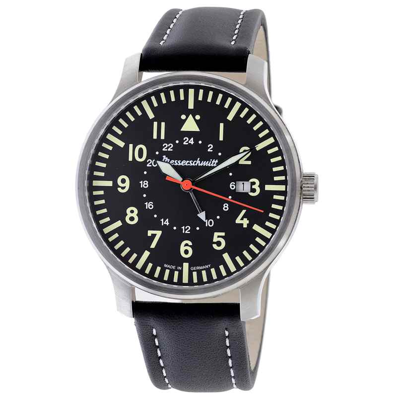 Messerschmitt ME-3H84GMT Herren-Fliegeruhr GMT mit Lederband 4260186269240