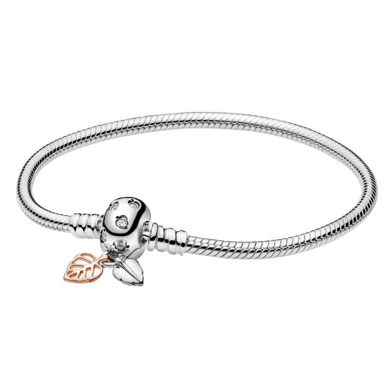 Pandora 588333CZ Rose Damen-Armband Moments Leaves & Snake Chain