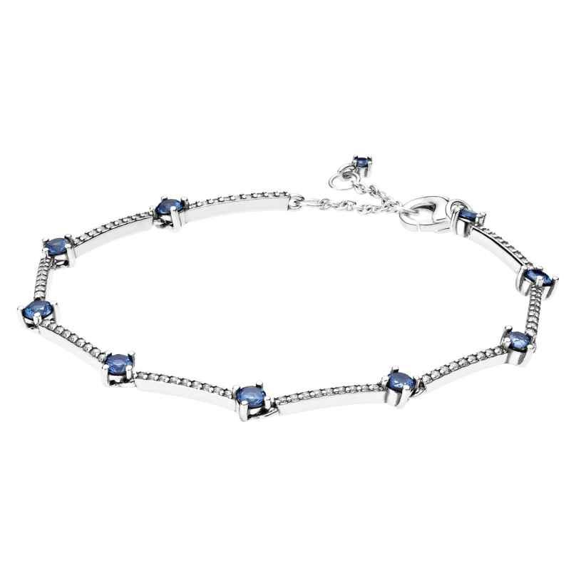 Pandora 599217C01 Damen-Armband Funkelnde Pavé-Stäbe Blau