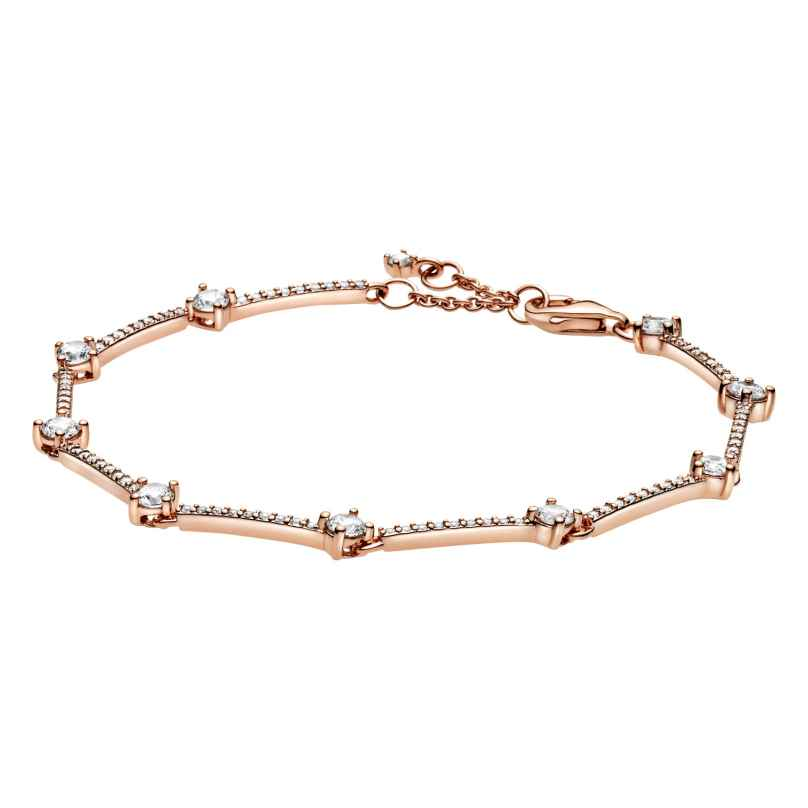 Pandora 589217C01 Rose Damen-Armband Funkelnde Pavé-Stäbe Weiß
