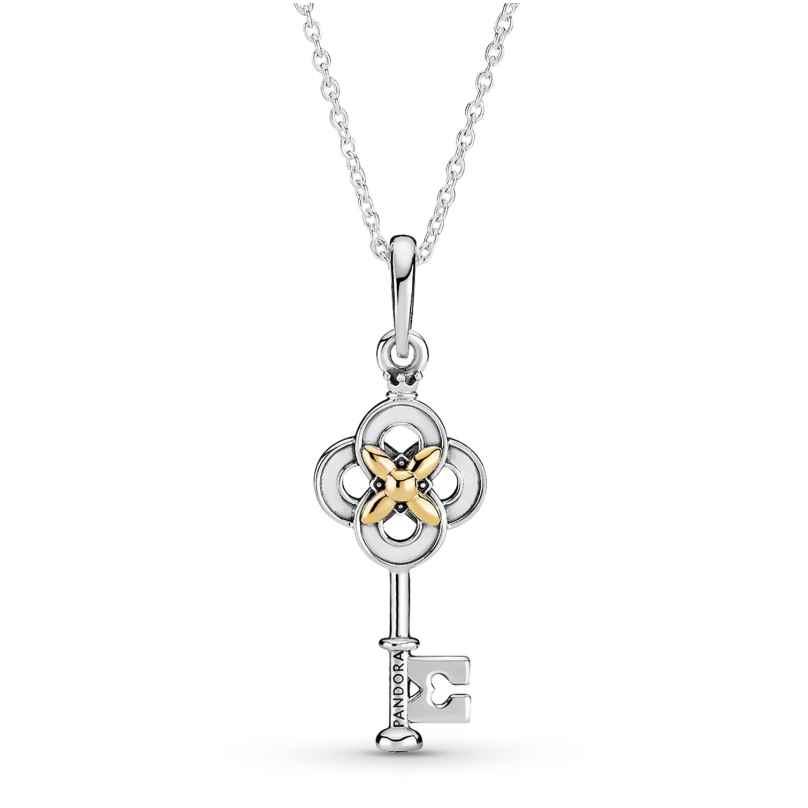 Pandora 399339C01-70 Silber Damen-Kette Zweifarbiger Schlüssel mit Blume 5700302916126