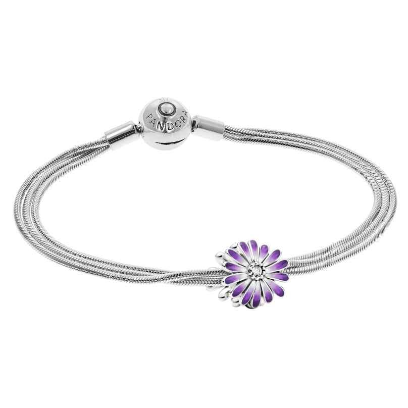 Pandora 39966 Damen-Armband Lilafarbenes Gänseblümchen