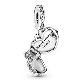 Pandora 798284CZ Silver Charm Pendant Home Sweet Heart