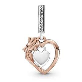 Pandora 789290C01 Rose Charm-Anhänger Herz & Rosenblüte