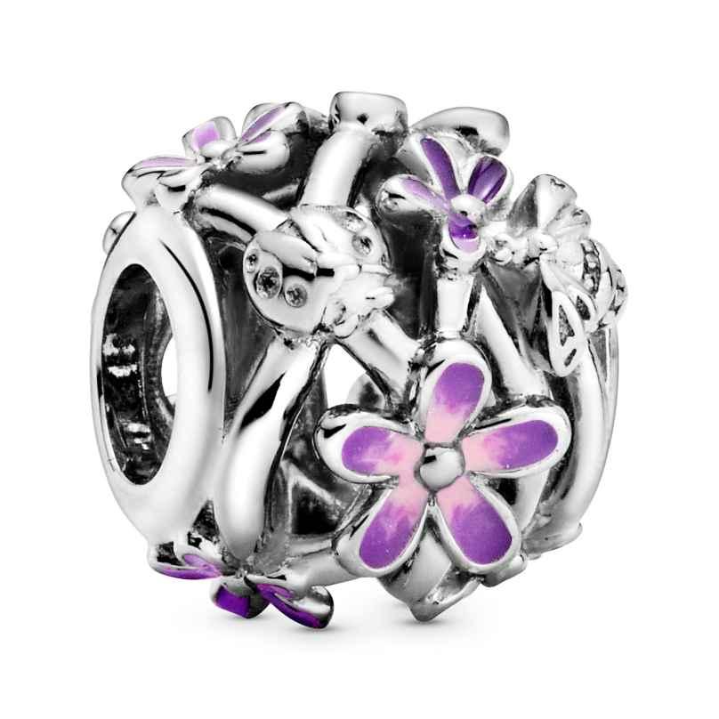 Pandora 798772C02 Silber Charm Openwork Lilafarbenes Gänseblümchen 5700302916492