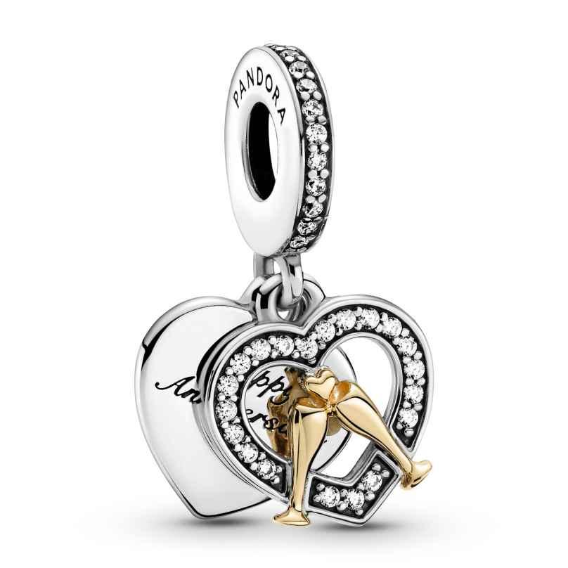 Pandora 799322C01 Silber Charm-Anhänger Zweifarbiger Glücklicher Jahrestag 5700302916591