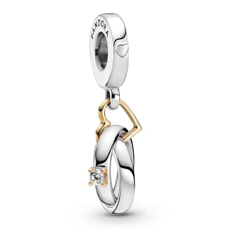 Pandora 799319C01 Silber Charm-Anhänger Zweifarbige Trauringe 5700302916560