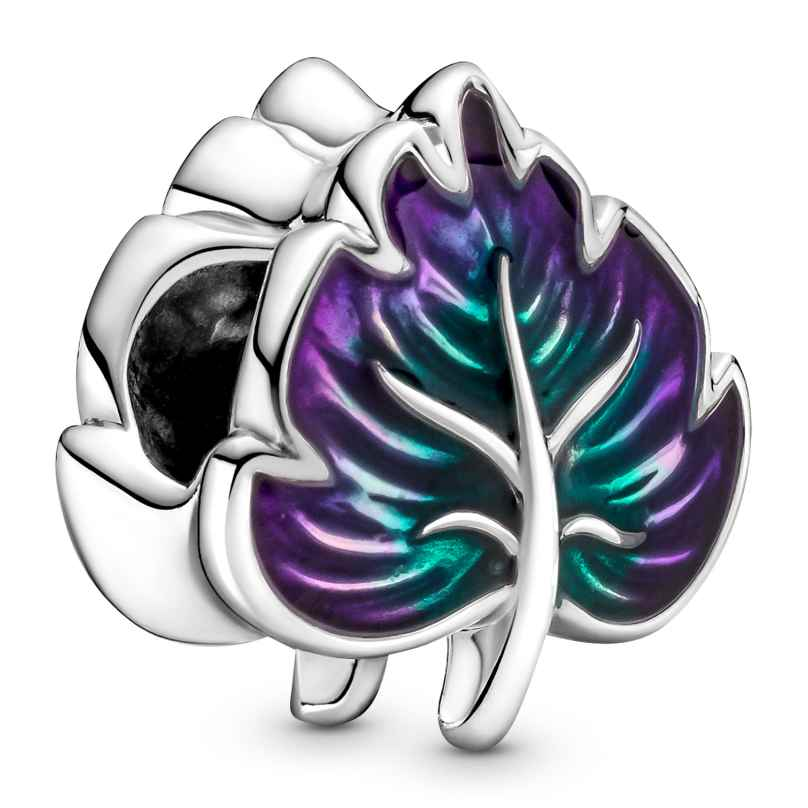 Pandora 799542C01 Silver Charm Purple & Green Leaf 5700302938487