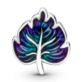 Pandora 799542C01 Silver Charm Purple & Green Leaf