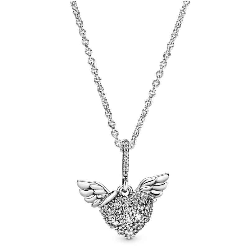 Pandora 398505C01-45 Ladies' Necklace Pave Heart & Angel Wings 5700302827279