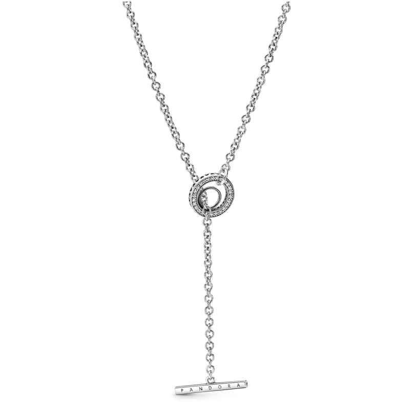 Pandora 399050C01-80 Damen-Halskette mit Pavé-Kreis und T-Verschluss Silber 5700302886801